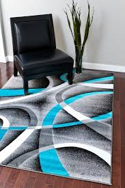 Modern Abstract Rugs 2305 Turquoise White Swirls 7 10 X10 6 Modern Abstract