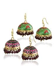 jhumki style earrings spargz combo of 2 pair multicolor gold bell meenakari jhumka