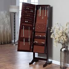 Living Room Armoire Modern Jewelry Armoire Cheval Mirror Espresso Hayneedle