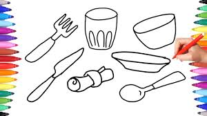 coloring pages kitchen set for kids learning coloring table set