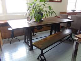 narrow dining table set with benches from indoor furniture old