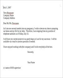 sample pregnancy resignation letter 5 examples in pdf