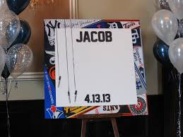 bar mitzvah sign in boards bar mitzvah sign in board with sports team pennant border jasons