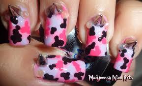 pink camouflage spikes fashion nail art diseño de uñas