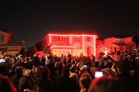 halloween light show house in riverside ca california through