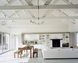 White Wood Ceiling by Wood Panel Ceiling With White Beams Home Design Ideas