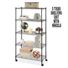 kitchen storage cupboard on wheels 5 shelf shelving unit with 4 casters 35 x 14 x 65 rustproof metal storage shelves heavy duty storage rack for kitchen bakers rack for keeping