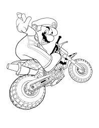 super mario brothers ride motorbike coloring page super mario