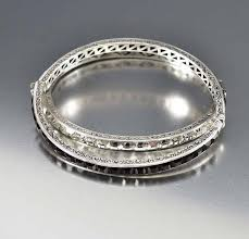 sterling silver crystal bracelet images Pair art deco silver channel set crystal bracelet bangles boylerpf jpg