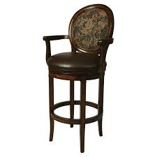 traditional upholstered swivel bar stool with back and wooden arms