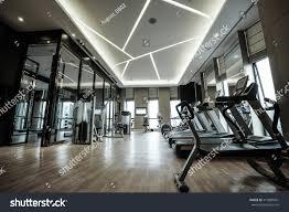 fitness club luxury hotel interior stock photo 412880401