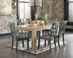 7 piece classic rustic dining room set washed pine blue sam