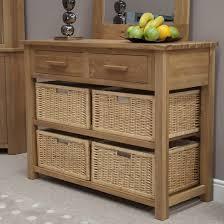 opus solid oak basket hall console table oak furniture uk