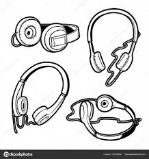 vector black and white sketch illustration of set of headphones