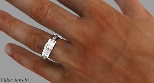 mens wedding ring men s wedding band with trillion cut diamond rings