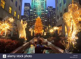 new york city rockefeller center christmas holiday decorations