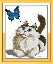 sunday cat and butterfly pattern needlepoint stitches cross