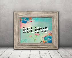 believe stripes flowers wall art home decor instant download
