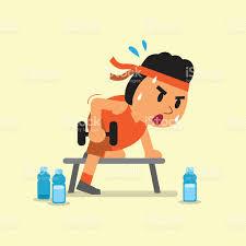 cartoon fat man doing dumbbell row exercise stock vector art