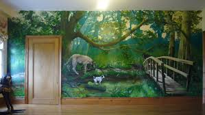a hand painted forest mural on a child s bedroom wall showing a hand painted forest mural on a child s bedroom wall showing detailed family pets