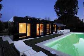 Glass Prefab Homes Black Glass Modular Home Design By ACero - Modern modular home designs
