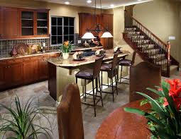 kitchen style natural wooden cabinets and kitchen island