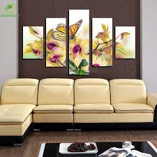 Living Room Definition 5 Panel Large Modern Flower Butterfly Canvas Painting Cuadros Wall