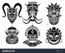 tribal masks ornamental elements set stock vector 287193302