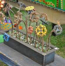 metal flower garden stakes faucet handle flowers water faucet handles turned into garden