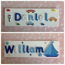 wooden name plaque door wall children boys bedroom new baby