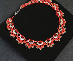 large red bead necklace images How to make a delicate red flower choker necklace with seed beads jpg