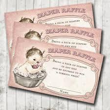 vintage baby shower baby bath diaper raffle cards pink diy