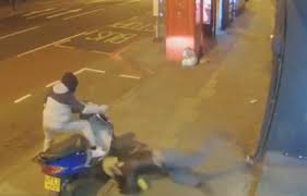 moment idiot moped burglar is sent flying by a pane of