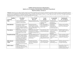 chem 342 introduction to biochemistry rubrics for evaluating