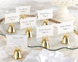 wedding favor gold bell place card holder bells