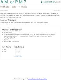 a m or p m lesson plan education com