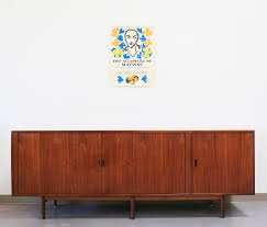 mid century teak credenza with tambour doors by arne vodder for