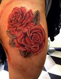watercolor rose tattoo designs red roses on thigh tattoo by