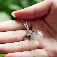 glass bottle necklace pendant images Rinhoo wish necklace real dandelion seed necklace jpg
