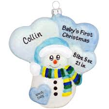 personalized blue snowman baby u0027s first christmas glass sparkle