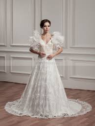 v neck a line lace wedding dress with ruffled sleeves