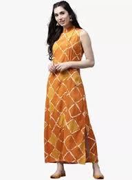 buy aks mustard yellow printed maxi dress for women online india