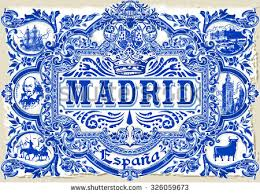 ornate tile work madrid symbol stock vector 326544824