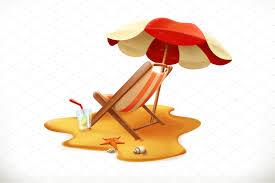 Beach Lounge Chair Umbrella Beach Umbrella Lounge Chair Vector Illustrations Creative Market