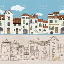seamless border of mediterranean houses stock vector art 472930386