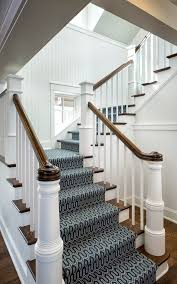 Chrome Banister Burlington Contemporary Stair Runners Staircase With Dark Wood