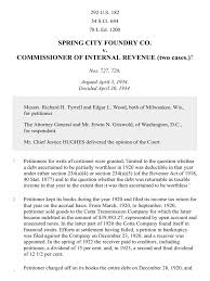 spring city foundry co v commissioner 292 u s 182 1934 tax