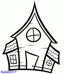 easy drawing of a house how to draw a haunted house for kids step