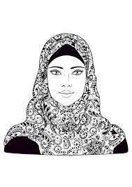 woman headscarf oriental coloring pages for adults justcolor