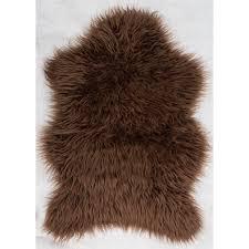 luxurious and splendid brown faux fur rug buy sheep shape 75x90cm